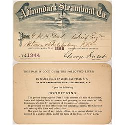 Adirondack Steamboat Co. Annual Pass, 1886