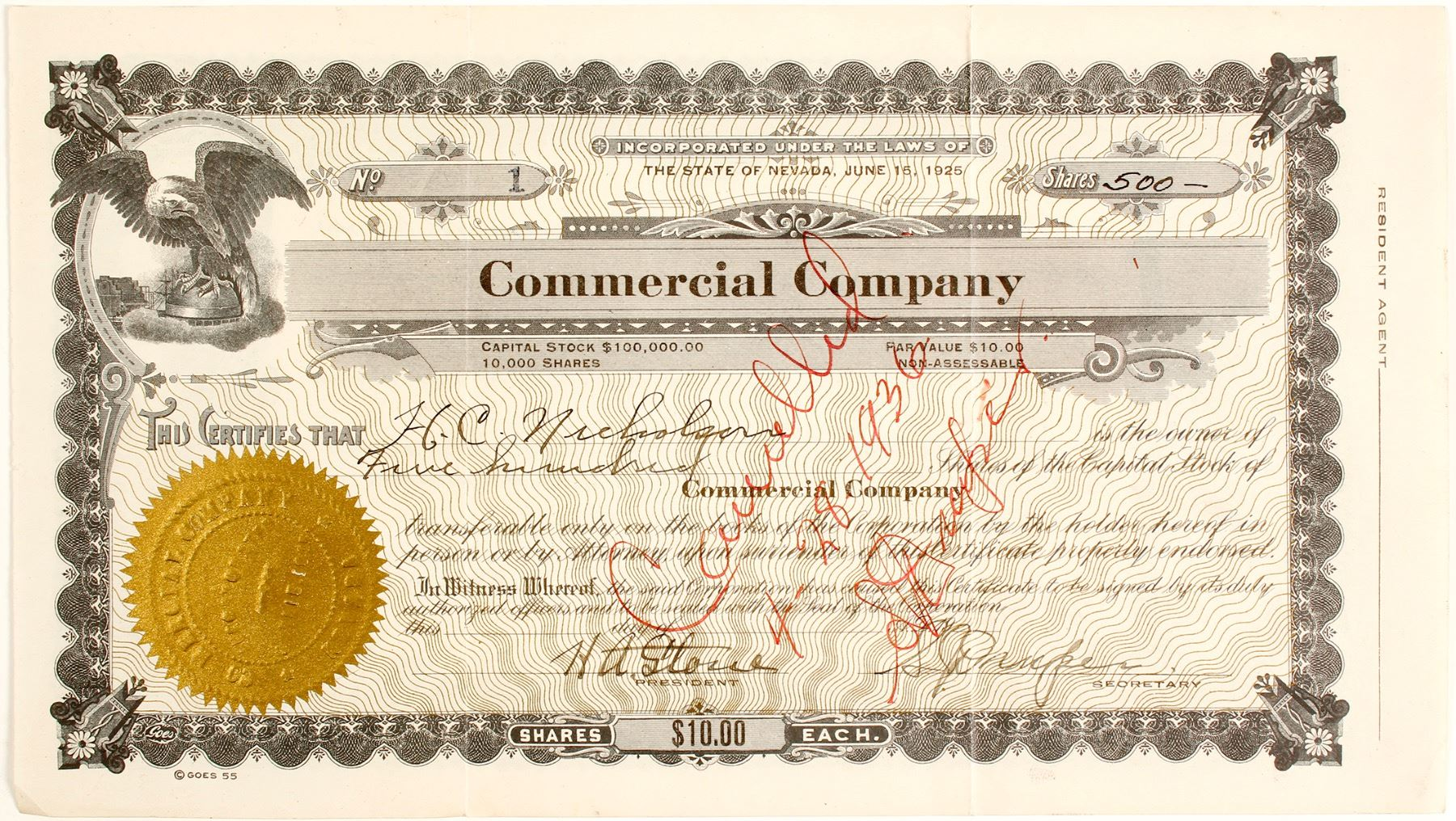 Commercial Company Mcgillnv Stock Certificate 1