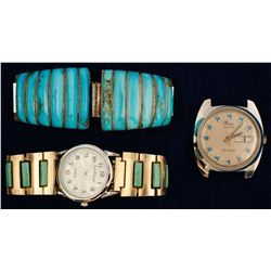 Two Turquoise Watchbands and One Watch
