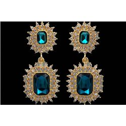 Aqua Blue Czech Crystal & Rhinestone Drop Earrings