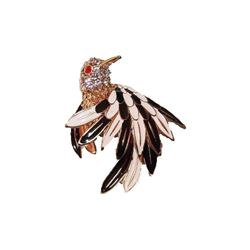 Vintage Goldtone Heavily Jeweled Figural Bird Hummingbird Brooch Pin