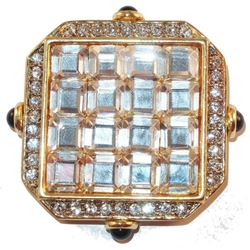 Vintage Signed Craft Goldtone Mirror Square Glass Design Rhinestones Brooch Pin