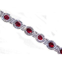 Glamorous Sparkling Party Silver Clear & Red Ruby Rhinestone Crystal Bracelet