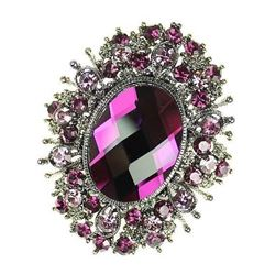Purple Rhinestone Crystal Amethyst Broach