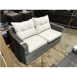 LIGHT GREY SANTANA PATIO SOFA SET WITH OVERSTUFFED CUSHIONS.