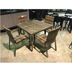 MOCHA BROWN PATIO DINING SET, SET INCLUDES: