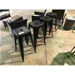 SET OF 4 DARK BROWN METAL INDOOR / OUTDOOR STOOLS
