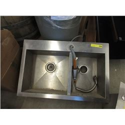 Stainless Steel Double Sink With Taps