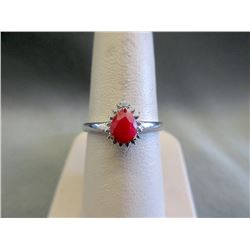 Sterling Silver Ruby & Diamond Solitaire Ring