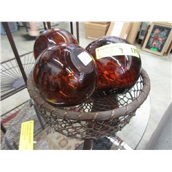 3 Amber Glass Floats in Wire Basket