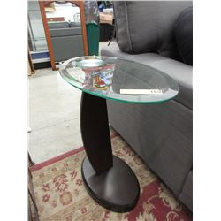 Oval End Table with Tempered Glass Top