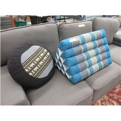 Triangular Bolster & Round Throw Cushion