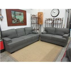 New 2018 Model Grey Fabric Sofa & Loveseat