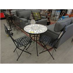 Tile Top Ice Cream Parlour Table & 3 Folding Chairs