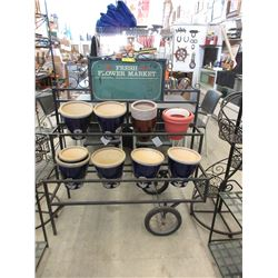 Metal Rolling Flower Market Stand with Pots
