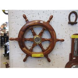 "Wood Ship's Wheel Clock - 18"" Diameter"