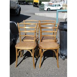 4 Wood Dining Chairs with Wicker Seats