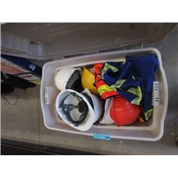 Bin of Hardhats, Coveralls, Safety Vests & More