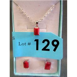 New Sterling Silver 2 Piece Ruby Jewelry Set