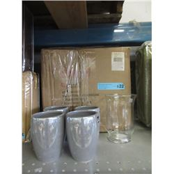 Four 5  Vases & Case of Hurricane Candle Holders