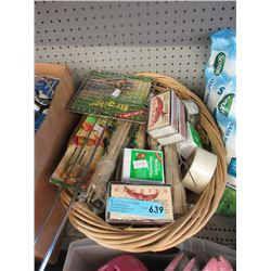 Wicker Basket of Assorted Camping Supplies