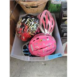 Tote of 7 Children's Helmets