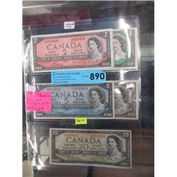 Set of Five 1954 Canadian Bills