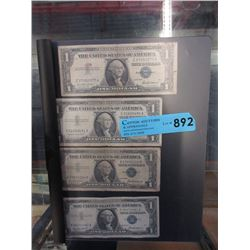 Four 1957 US $1 Silver Certificates