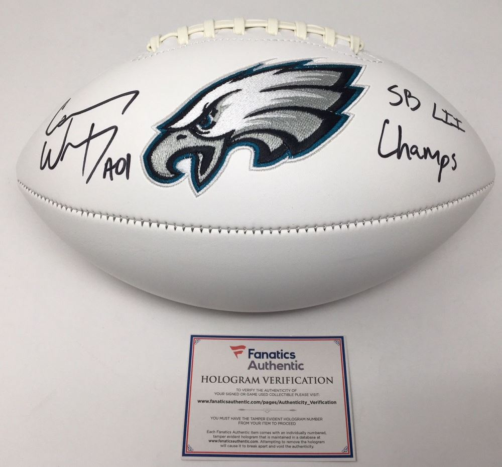 Image 1   Carson Wentz Signed Eagles Logo Football Inscribed