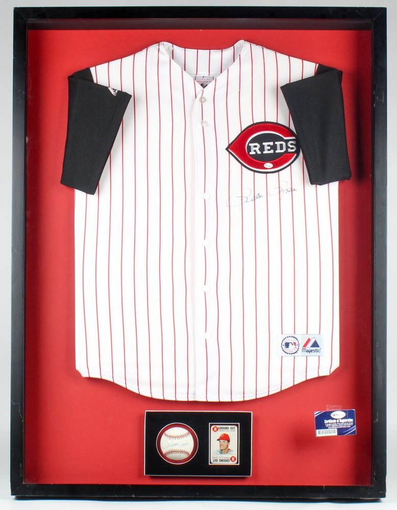 Pete Rose Signed Reds 31.5x41.5x3.5 Custom Framed Jersey Baseball ...