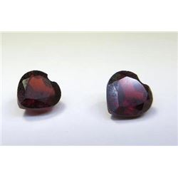 1.38 ct. Garnet Hearts matched pair