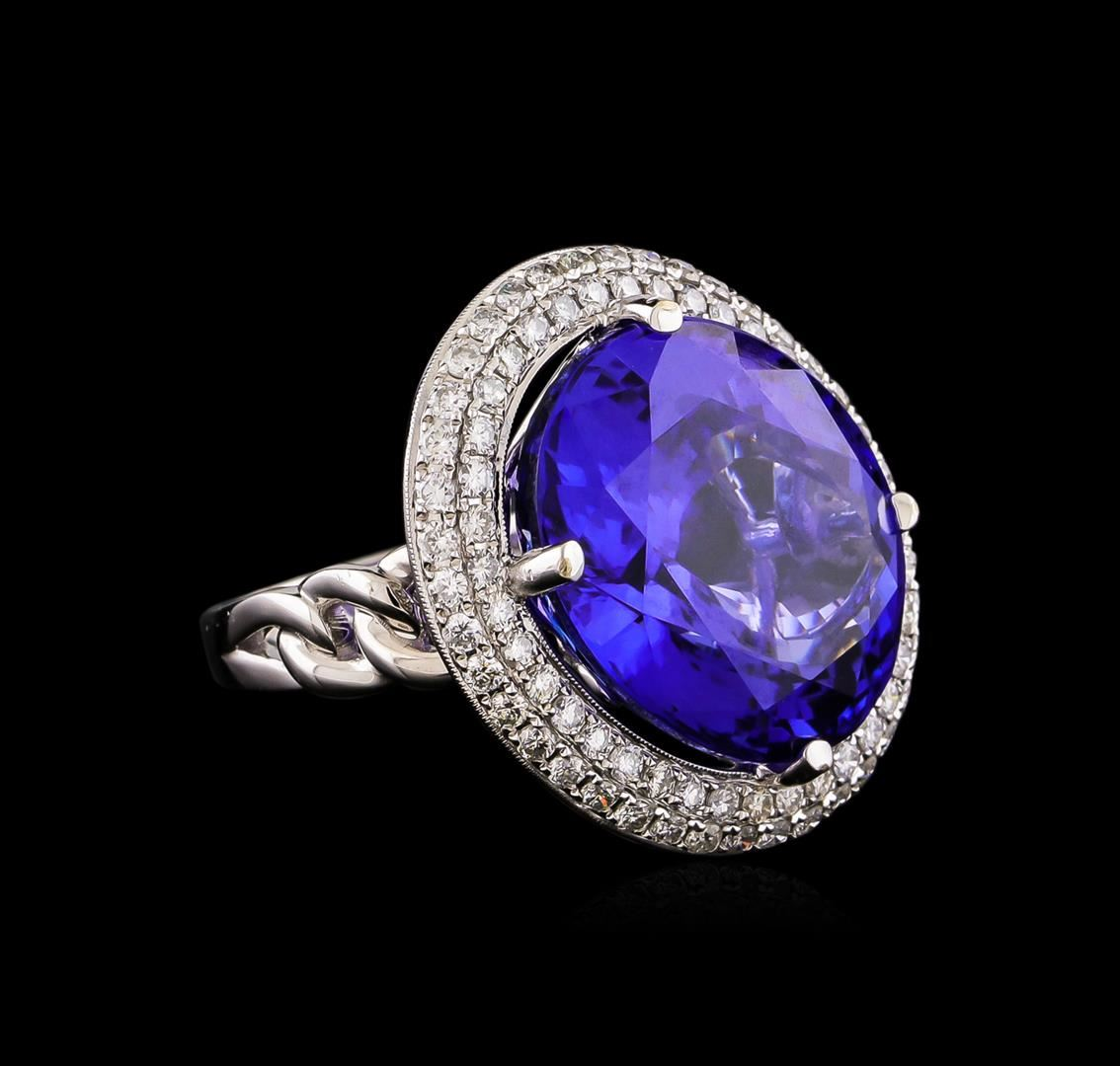 engagement double halo diamond white gold certified tanzanite gia ring