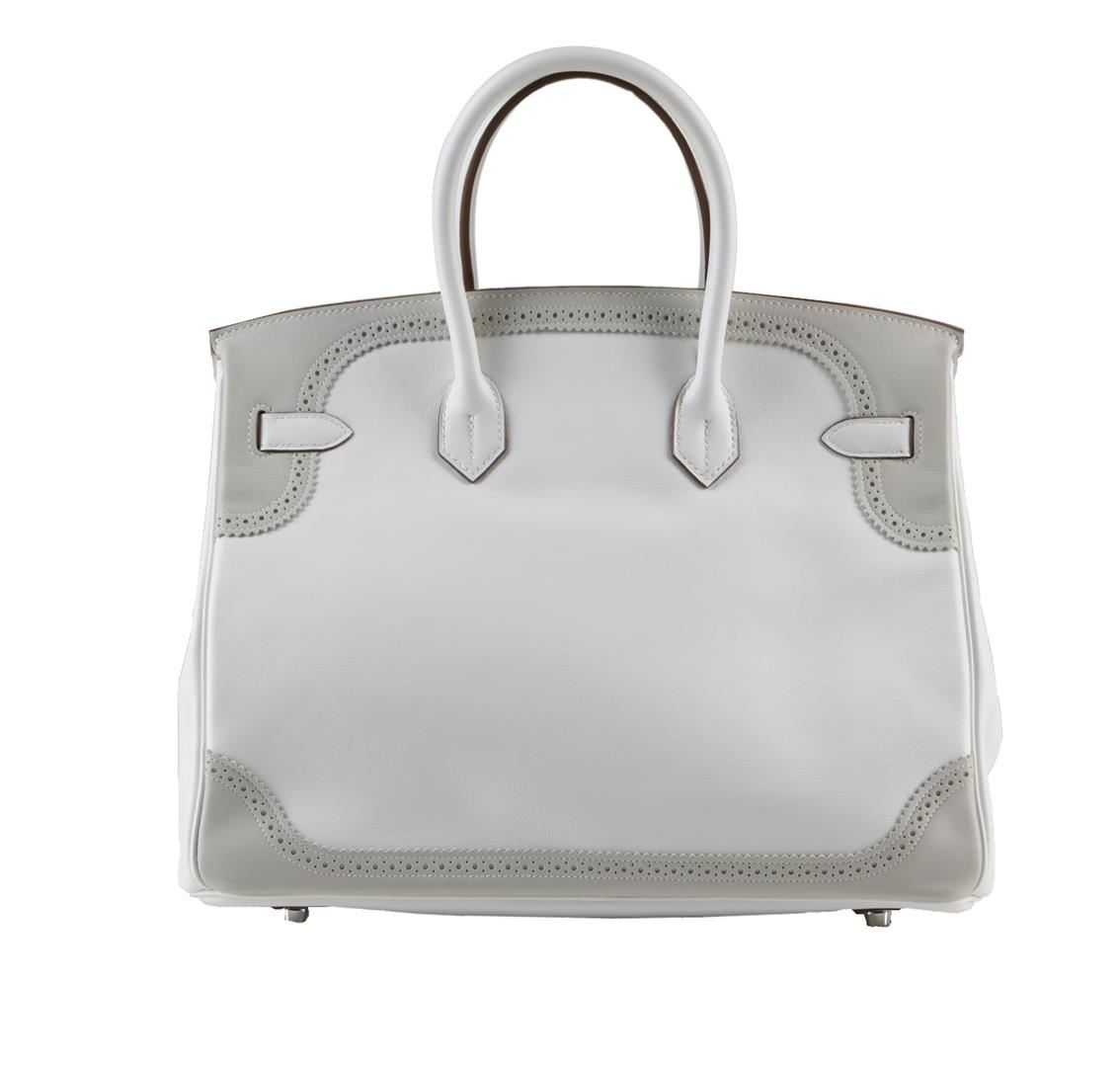 ... canada image 2 hermes 35cm white and gris perle swift leather ghillies  birkin bag 9558f 525a7 ... 71226e5ca5544