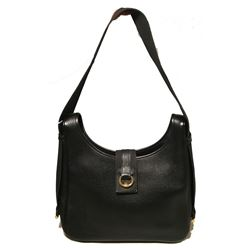 Hermes Vintage Black Leather Shoulder Bag
