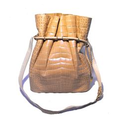 Vintage Morabito Natural Alligator Bucket Shoulder Bag