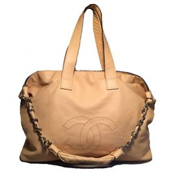 Chanel Buttery Beige Lambskin Weekend Shoulder Bag Tote