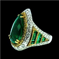GIA 7.35ct NATURAL COLOMBIAN EMERALD 18K WHITE AND YELLOW GOLD RING
