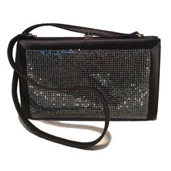 Judith Leiber Black Silk and Swarovski Crystal Evening Shoulder Bag