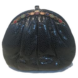 Judith Leiber Vintage Black Lizard Leather Clutch