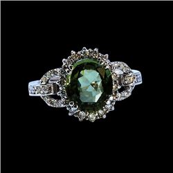 3.01CT NATURAL CEYLON GREEN SAPPHIRE 4K W/G RING