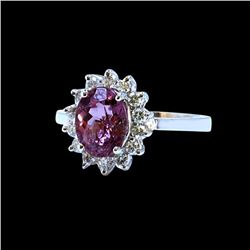 1.85CT NATURAL COLOR CHANGE GARNET 14K WHITE GOLD RING
