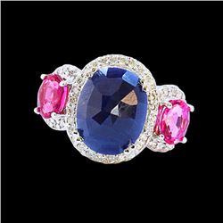 5.81CT NATURAL CEYLON BLUE SAPPHIRE / PINK TOURMALINE 14K W/G RING