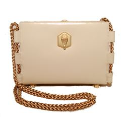 Barry Kiselstein-Cord Cream Leather Shoulder Bag