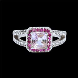 2.28CT NATURAL CEYLON PINK SAPPHIRE 14K WHITE GOLD RING