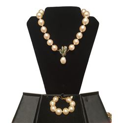 RARE Chanel Pearl and Enamel Necklace and Bracelet Set Presentation Box
