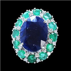 16ct Approx Blue Sapphire / 3.5ct approx Emerald 14K White Gold Ring