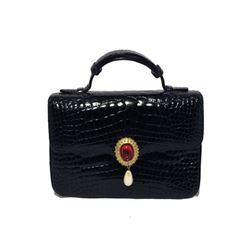 Judith Leiber Black Alligator and Pearl Mini Handbag