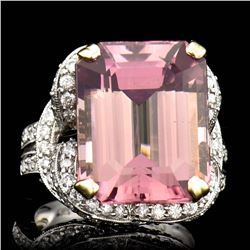 20.97CT NATURAL TOURMALINE 18k w/y GOLD RING
