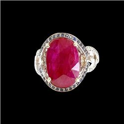 GIA 8.45ct Ruby 14K White Gold Ring