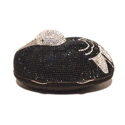 Judith Leiber Black & Silver Crystal Sitting Duck Minaudiere